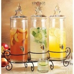 Beverage dispensers that will make your hydration station look like wedding art. Use it for water to jazz it up. If you're serving tea or lemonade, this will look gorgeous. Good idea for us since we won't be serving alcohol: water, lemonade, sweet tea. Cocktails, Party Drinks, Tea Party, Brunch Party, Holiday Drinks, Reception Food, Wedding Reception, Summer Wedding, Wedding Programs
