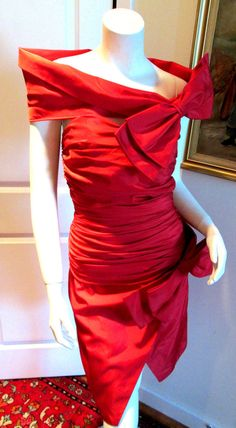 Vintage Costa Renta Red Rouged Cocktail Large Bow 1960's Movie Star Era Dress #Fashion #Style #Cocktail
