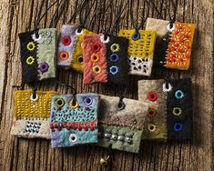 Gail Perrone / Catfish Studio - Pendants with strings, felt Fiber Art Jewelry, Mixed Media Jewelry, Textile Jewelry, Fabric Jewelry, Textile Art, Jewelry Art, Jewellery, Fabric Beads, Fabric Art