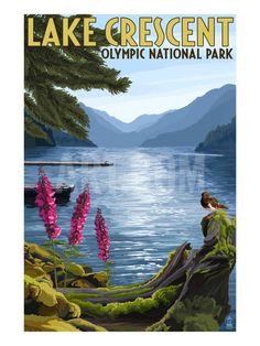 Olympic National Park, Washington - Lake Crescent Art Print by Lantern Press at Art.com