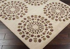 Bombay Beige Plush Pile Rectangle Wool Rug L 156 X W 108