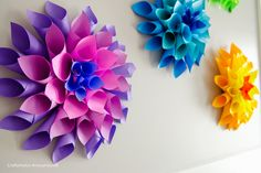 DIY Paper Dahlia Flowers || Love the rainbow of colors! ... used Astrobrights copy paper ... bloger's 4-year old loved doing this craft ...