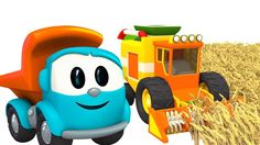 Car cartoon. Leo the truck and Harvester. Animation for kids about cars ...