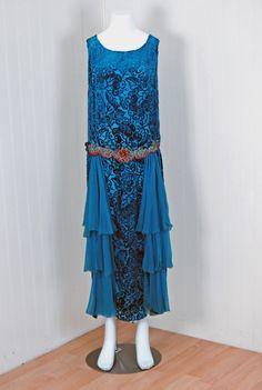Royal-Blue Voided Silk Velvet Appliqued Flapper Dress  c. 1920's