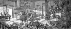 Cloudy With A Chance Of Meatballs 2 Production Designer's Notebook #005 Flint Lockwood's apartment interior: Rough pencil sketch & final design. Found on http://shinypinkbottle.tumblr.com/