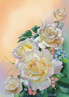 This site has lots of beautiful paintings - rfm Art Floral, Floral Theme, Flower Wallpaper, Wallpaper Backgrounds, Beautiful Roses, Beautiful Flowers, Graffiti Kunst, Rose Art, Beautiful Paintings
