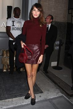 Burgundy! Love this ensemble however I'd wear a pair of heels instead of flats. The flats are cute and make this look appear less dressy and more casual but in my opinion a heel would compliment this look perfectly! :)