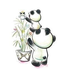 Panda Tree Time by snowmask Loli Kawaii, Kawaii Cute, Panda Tree, Panda Drawing, Cartoon Panda, Christmas Art, Christmas Panda, Cute Panda, Cute Bears
