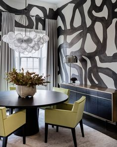 Beacon Street Residence- Elms Interior Design - Dining Room - Contemporary Hand Painted Porter Teleo Wallcovering