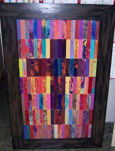 Class auction projects - Have the kids make colorful paintings, cut into strips & collage together for a colorful piece that could go anywhere!
