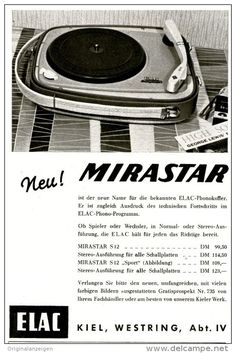 Original-Werbung/Anzeige 1958 - ELAC MIRASTAR KOFFER - PLATTENSPIELER / KIEL - ca. 90 x 140 mm