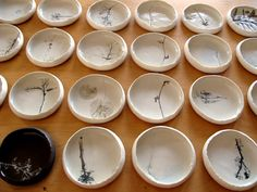 Rosa Nguyen - hand built porcelain bowls with pressed and printed plants