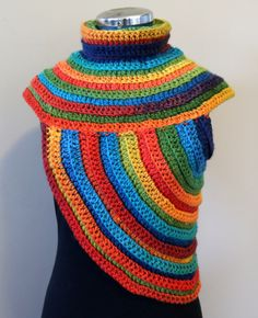 Funky COWL-VEST, WOOL, Rainbow, multicolor, chunky crochet, knitted, warm, festival, huntress cross-body, Katniss cowl by GnarlyKnitsGroup on Etsy https://www.etsy.com/au/listing/253376354/funky-cowl-vest-wool-rainbow-multicolor