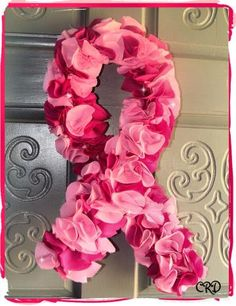 Pink Breast Cancer Awareness Ribbon Door Wreath by CharleeRoseDesigns for $30.00