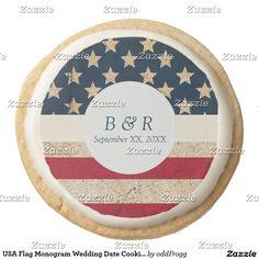 USA Flag Monogram Wedding Date Cookies