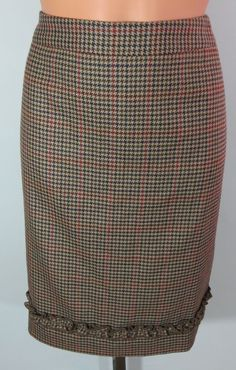 "NEW w/TAGS ""PETITE SOPHISTICATE"" 100% WOOL BROWN PLAID CHECK SKIRT - SEE ALL PIC #PETITESOPHISTICATE #PLEASESEEALLPICTURES"