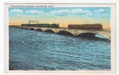 Railroad Train Streetcar Causeway Galveston Texas 1920c postcard