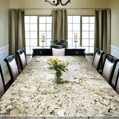 Granite Countertops for all of Tennessee. Local owned Granite Warehouse open to the public! Granite Kitchen Table, Granite Table Top, Marble Top Dining Table, Kitchen Countertops, Nook Table, Dining Nook, Dining Room Table, Granito Santa Cecilia, Beautiful Dining Rooms