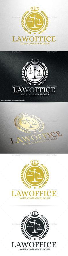 Law Office Logo Template v2 #vector #logo #template #design #law #lawyer #court #courthouse #justice #scales #laurel #wreath #crown #crest #business #company #agency #firm #freelance #buy #sale #envato #graphicriver
