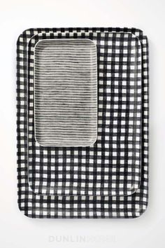 Fog Linen Tray. Extra Large. Navy & White Check