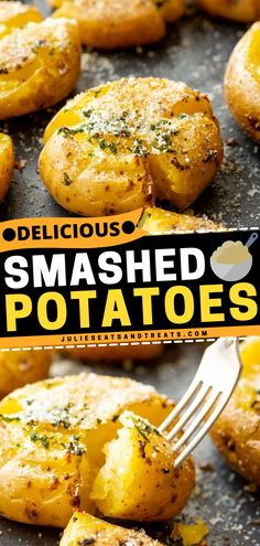 The best potato side dish to make for dinner! These Smashed Potatoes with garlic, butter, and Parmesan cheese are baked to perfection. Save this easy dinner recipe for later! Potato Side Dishes, Side Dishes Easy, Side Dish Recipes, Easy Dinner Recipes, Great Recipes, Breakfast Recipes, Easy Meals, Yummy Recipes, Smashed Potatoes Recipe