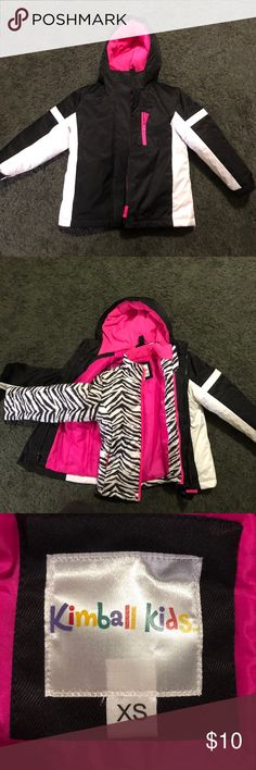Kimball Kids winter coat XS Kimbal Kids black white and pink winter coat. Black and white coat with Zebra jacket inside. Excellent condition. Only worn once. Fits like a size 5/6. Thick and warm coat. Jackets & Coats