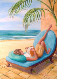 Home Decor/ Artist Print/ Girl's Room Decor/ Modern Art/ Girl Reading Book by the Beach by Scarlet Elora 8x10