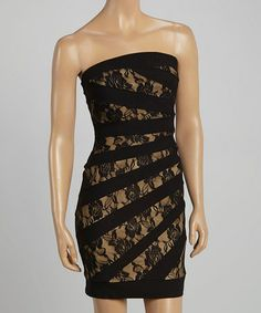 Another great find on #zulily! Nude & Black Lace Strapless Dress #zulilyfinds
