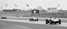Tony Brooks, in the the Ferrari 246/F1, followed closely by the Cooper of Masten Gregory on the main straight | Formula 1 photos | ESPN F1 1959 German GP