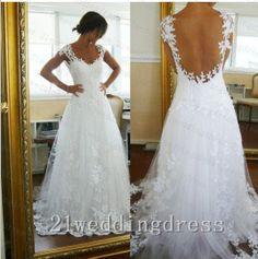 Cap Sleeves A Line Lace Tulle Open Back Wedding by 21weddingdress
