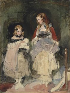 SIR EDWIN HENRY LANDSEER, R.A. (1802-1873) DOUBLE PORTRAIT OF THE HONS MARY ISABELLA AND CECILE KATHERINE CARINGTON, UNFINISHED