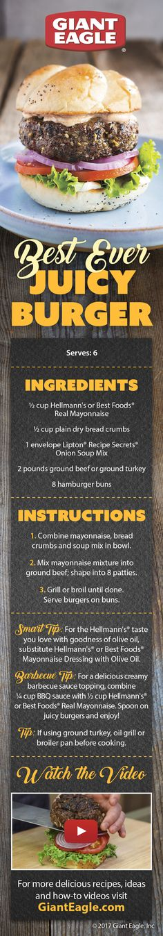 This is the Best Ever Juicy Burger recipe from Hellmann's Mayonnaise! Serve this to your guests for the and there will be fireworks in their mouths! Hot Dog Recipes, Burger Recipes, Burger Dogs, Burgers, Juicy Burger Recipe, Pepperidge Farm Cookies, Main Dishes, Side Dishes, Dry Bread