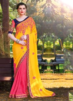 Bewitching Hot Pink and Yellow Lace Work Satin Half N Half  Saree