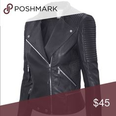 🖤FLASH SALE🖤Faux Black Leather MOTO JACKET A cropped silhouette puts a feminine finish on this supple jacket. It is styled with line panels at the shoulders, sides, lower back and sleeves. Adjustable fitted collar with snap closure, brightened by silver hardware Jackets & Coats