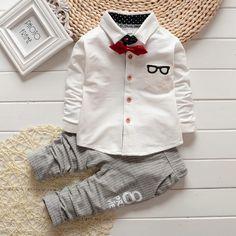 53% СКИДКА 2 шт. 0 4years Весенне осенние комплекты одежды для детей  Повседневное белая футболка штаны в полоску Одежда для маленьких мальчиков  Костюмы ... 1c75b23aca9