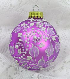 Pinky Purple Hand Painted 3D Leaf Design MUD Ornament with Rhinestone Bling. $25.00, via Etsy.