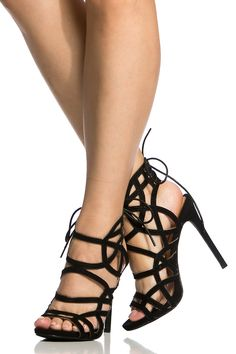 2a32aea4c1b Black Faux Suede Cut Out Lace Up Heels   Cicihot Heel Shoes online store  sales Stiletto Heel Shoes