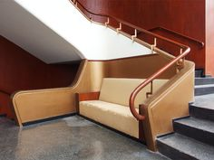 "Two side stairs at the main access floor to the projection room. The gold paint, wood veneer and now-destroyed sofa are from later ""renovations"". Cinema Architecture, Architecture Details, Wood Veneer, Portuguese, Stairs, Flooring, Interior, Room, Louisiana"