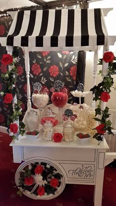 Red, Black and White theme Wedding set up at The Nursery, Kent. Candy Bar Wedding, Wedding Set Up, Wedding Ideas, Sweet Cart Hire, Sweet Carts, Black And White Theme, Red Black, White Candy Bars, Lemonade Stands