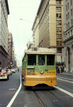 S line on 7th Street (1957) #LosAngeles #streetcar