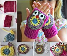 How cute are these little fingerless Crochet Owl Mittens! free pattern #diy #crafts #crochetpattern