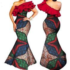 African Clothing for Women Dashiki Bazin Ruffles One-shoulder Long Mermaid Dress