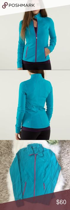 Lululemon Forme Jacket in Surge Lululemon athletica 'Forme Jacket II' in color Surge (turquoise blue with purple zippers). This jacket is 'brushed' on interior meaning it has a fuzzy fleece like material, super cozy! Thumbholes and two zippered pockets. Form fitting. This jacket is in good used condition, no stains or holes, but there is pilling. Majority of wear is on cuffs and under arms. Size 6. lululemon athletica Jackets & Coats