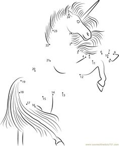 Unicorn connect the dots is a skill training sheet for preschool children or early childhood. Presented in a very interesting unicorn animal. Dot To Dot Printables, Unicorn Printables, Unicorn Images, Unicorn Pictures, Printable Worksheets, Printable Coloring Pages, Daniel And The Lions, Dots Free, Dot Day