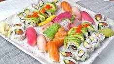 Sushi:  dragon roll,  Alaska roll,  tuna roll,  California roll,  salmon,  tuna and yellowtail. Sashimi:  salmon,  tuna,  yellowtail and  white fish.