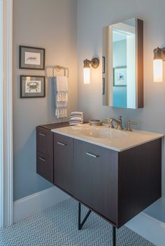 Powder Room with Benjamin Moore's Aura Bath & Spa, Matte, Silver Gray 2131-60 (walls) and Aura Bath & Spa, Matte, Winter White OC-21 (ceiling)