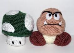 Goomba & 1-Up Mushroom Amigurumi. I own one. . .