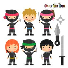 FREE Ninja Kids Clip Art Set