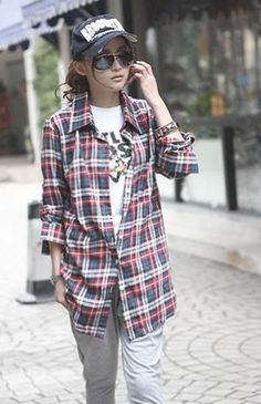 Plaid shirt.... http://www.dresslily.com/checked-long-shirt-product454335.html