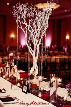 white tree #wedding #center piece #candle